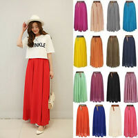 Sexy Women's Lady Chiffon Pleated Retro Long Maxi Dress Elastic Waist Skirt Belt