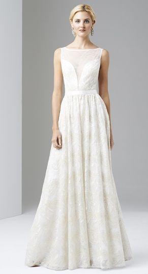ADRIANNA PAPELL Ivory White Sleeveless Illusion Sequin Ball Gown Wedding NWT
