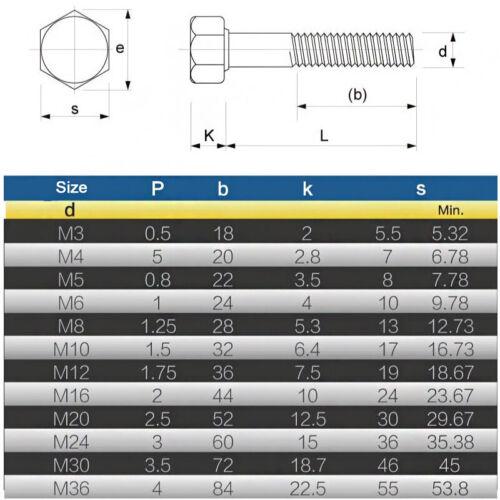 M6 vis à tête hexagonale en acier allié Haute Résistance Hex Boulons pour service de niveau 12.9