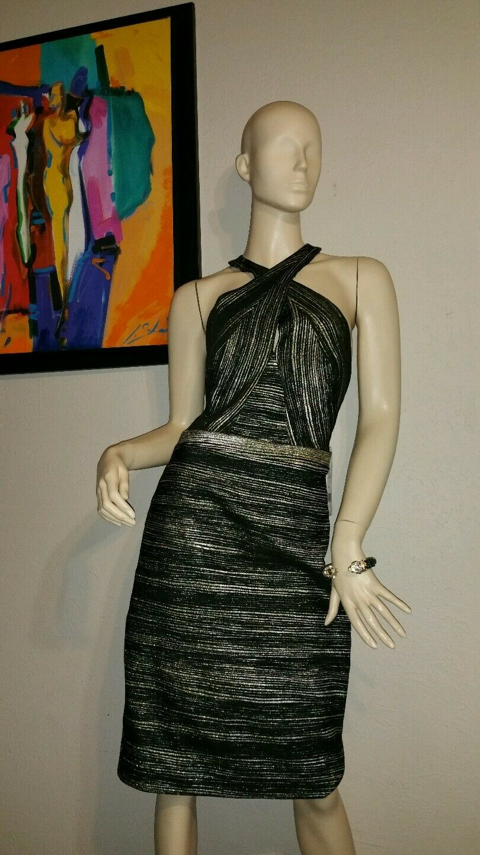 Nicole Miller Metallic  gold  High-Fashion Sleeveless  Dress (Size  2