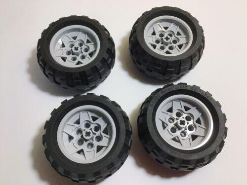 LEGO Technic Tires 68.7 X 34R Bluish Gray Wheels 43.2mm D X 26mm Lot Of 4