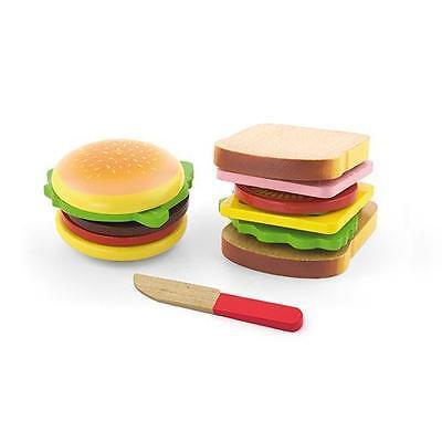 NEW Viga Toys Wooden Hamburger & Sandwich Set - Play Toy Kitchen Food