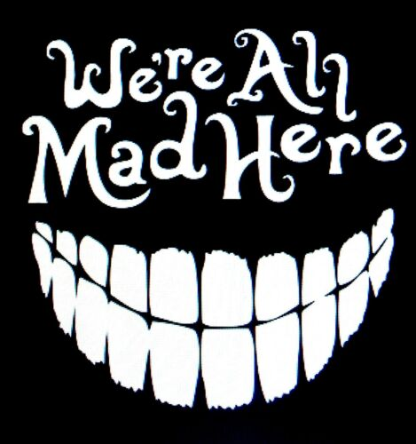 We/'re All Mad Here  Mad Hatter Sticker Vinyl Decal Funny Car Truck Window