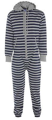 Unisex New Striped Jumpsuit Hooded Zip One Piece Playsuit All In One 4 Sizes GüNstigster Preis Von Unserer Website
