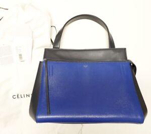 0738a3bd6e CELINE Calfskin Leather Medium Edge Shoulder Bag in Indigo   Navy ...