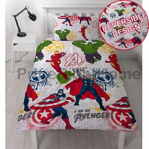 Marvel-Avengers-Mission-Set-Housse-de-couette-simple-HULK-IRON-MAN-THOR