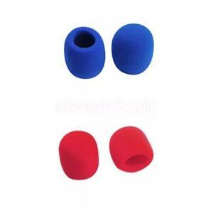 2-Paires-Bonnette-Mousse-Pour-Micro-Microphone-2-x-Bleu-2-x-Rouge