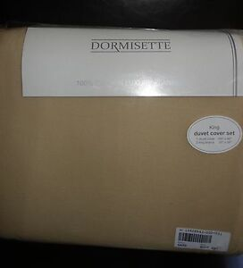 DORMISETTE-GERMAN-LUXURY-Cotton-FLANNEL-3PC-KING-DUVET-COVER-SET-SAND-NEW