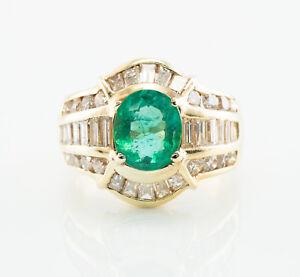 7b68d288c06f La imagen se está cargando Esmeralda-Natural-Anillo-con-Diamante-14K-Oro -Original-