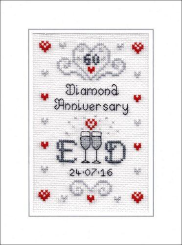 60th Diamante Aniversario de Bodas Kit de tarjeta de punto de cruz