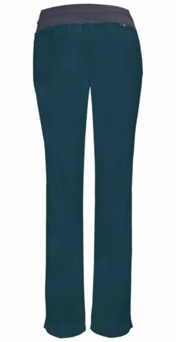 Caribbean Blue Cherokee Scrubs Infinity Low Rise Slim Pull On Pants 1124A CAPS