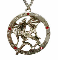 Mystical Dragon Surrounded By Zodiac Circle & Red Stones Pewter Necklace Nk-384
