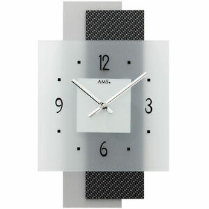 AMS-Cuarzo-Reloj-De-Pared-CARBONO-Aplicacion-CRISTAL-MINERAL-Parte-Posterior