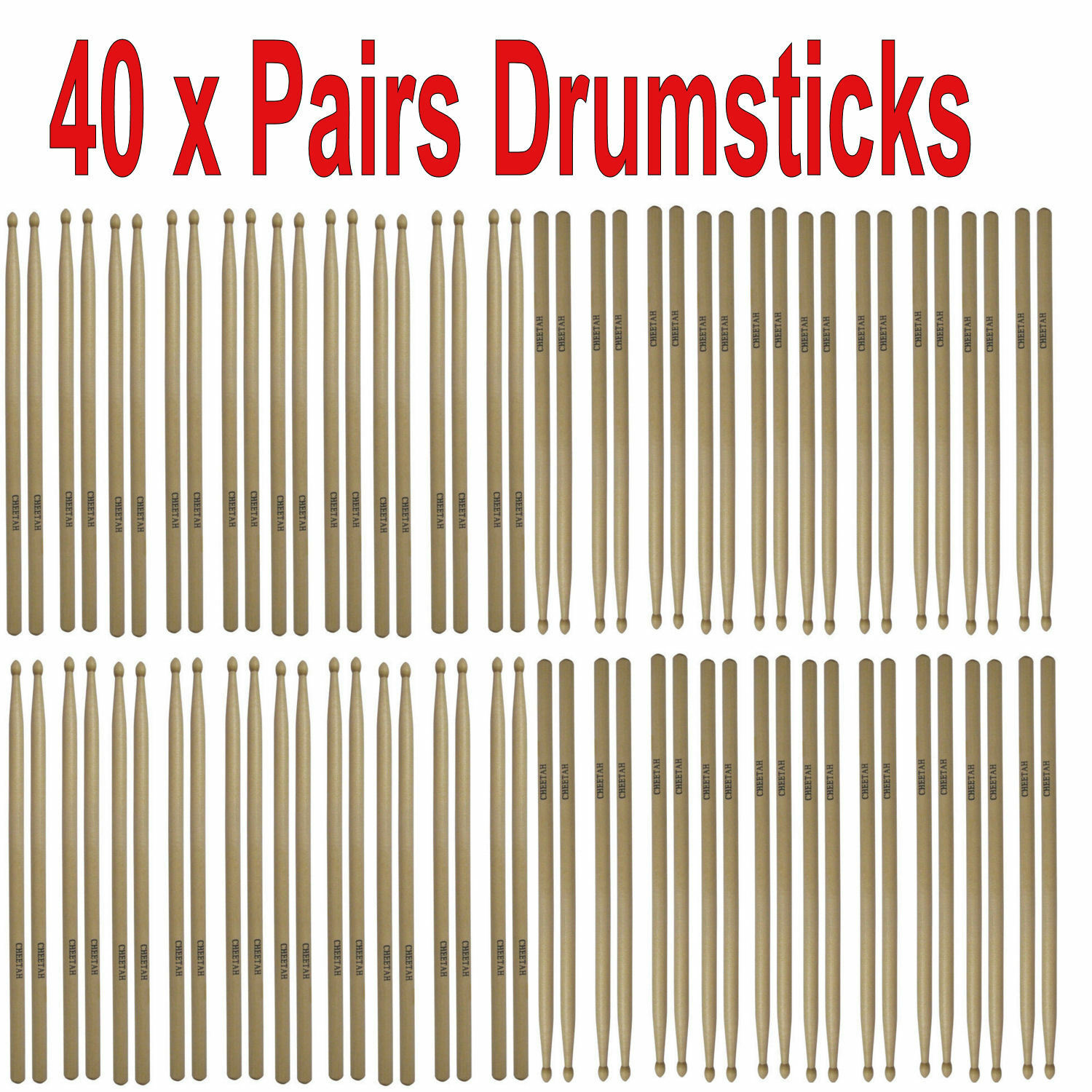 Multi Pack Of 40 Drum Sticks-Bulk Buy-Quality 2B 5B 7A Cheap Pair Drumsticks