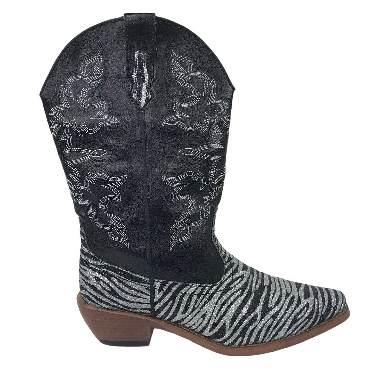 Roper Women's Cowgirl Boots 7.5 M Black Silver Ze… - image 1