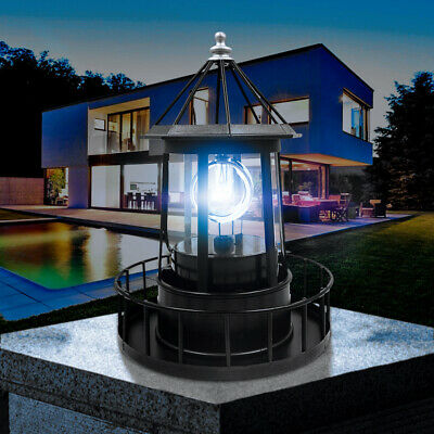 Solar LED Leuchtturm Licht Garten Hof Rasen Beleuchtung Dekor Lampe Schwarz