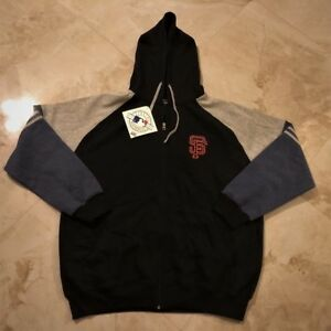 San-Francisco-Giants-Full-Zip-Hoodie-XL-2XL-Black-Embroidered-Two-Sided-Logo-MLB