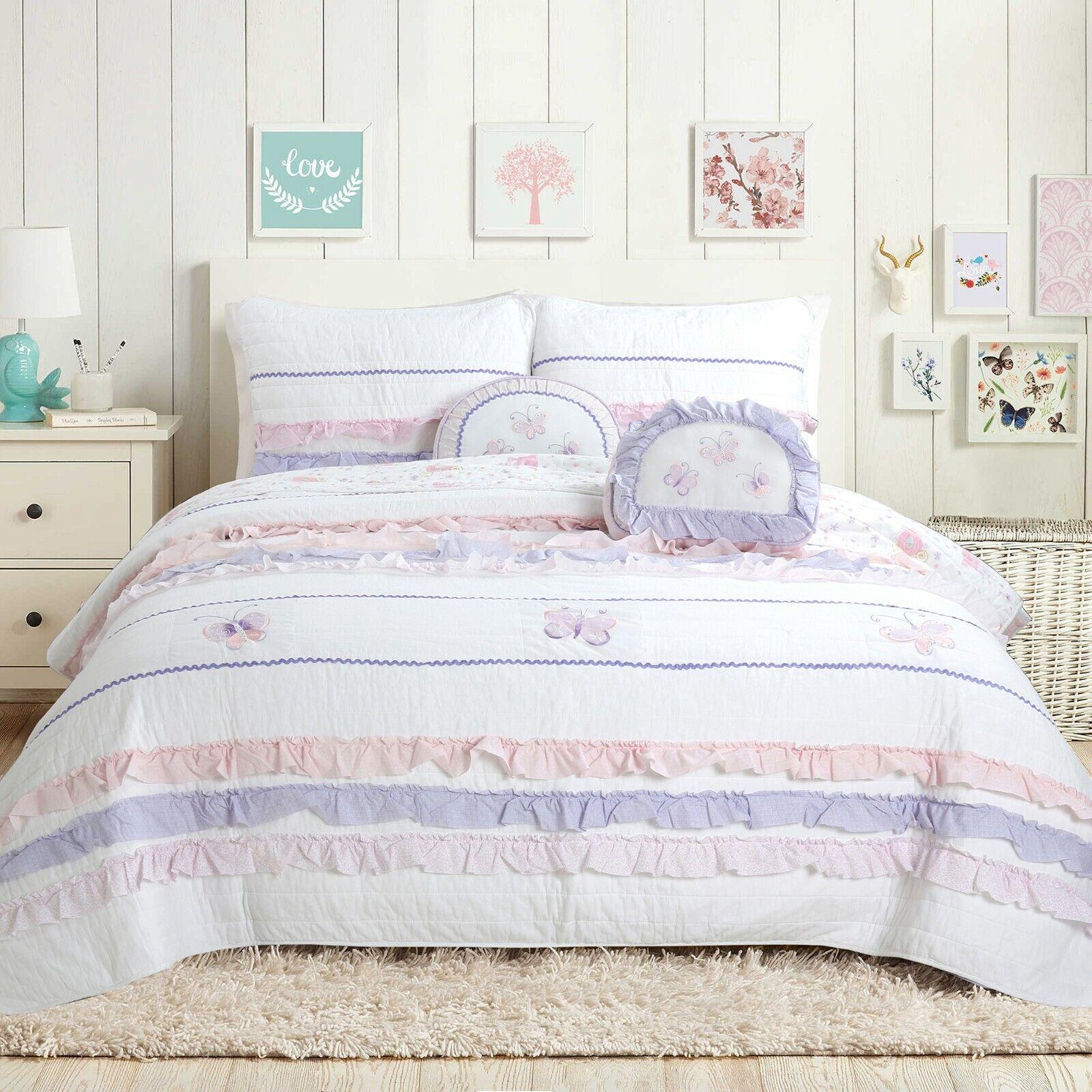 Diboll Ruffle Lace Cotton 100%Cotton Quilt Set, Bedspread, Coverlet