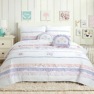 Diboll Ruffle Lace Cotton 100 Cotton Quilt Set Bedspread Coverlet Ebay