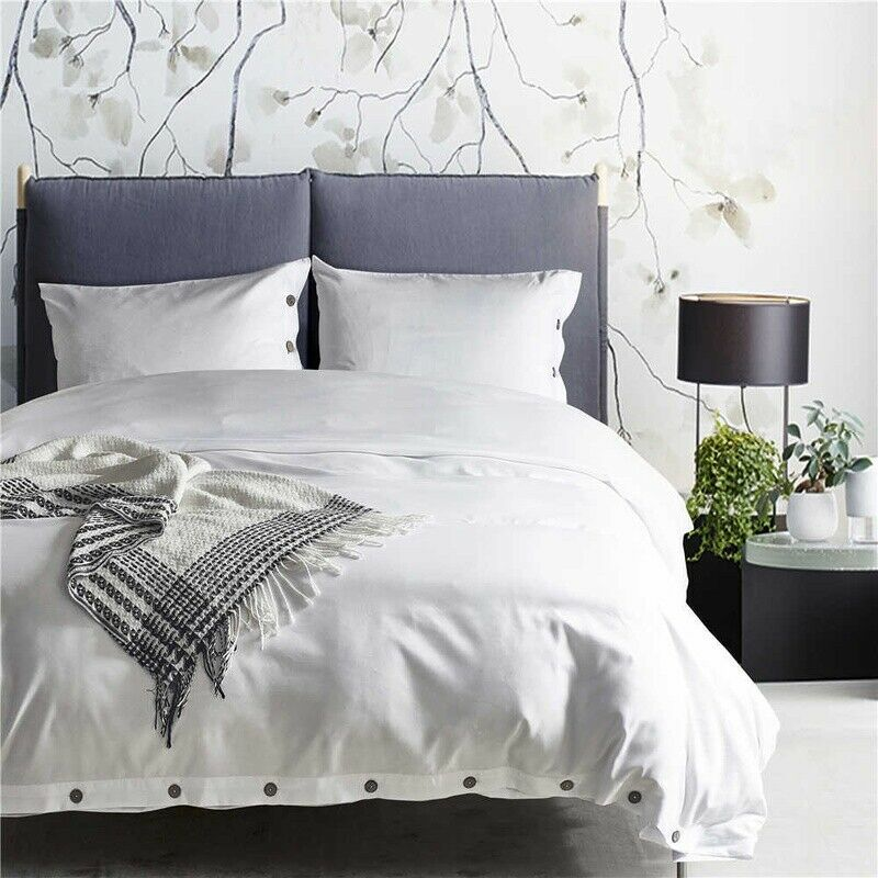 Plain Button Duvet Cover with Pillow Case Quilt Covers Bedding Set American Größe
