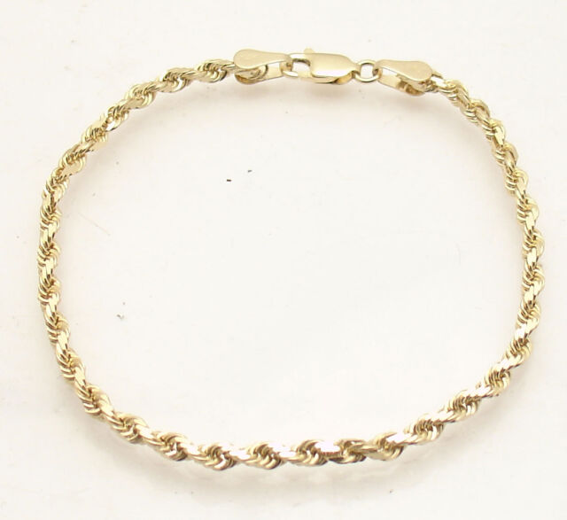 7 Solid Diamond Cut Rope Chain Bracelet Lobster Lock Real 14k Yellow Gold