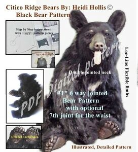 Pdf Artist Printable Sewing Craft Pattern Large Jointed Bear Citico