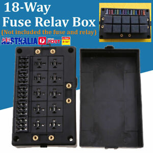 18-Way-Fuse-Relay-Box-Holder-Block-Circuit-Protector-Terminals-Black-Automotive