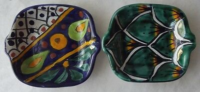 "2 SMALL VINTAGE MEXICAN TALAVERA HAND PAINTED POTTERY DISHES 4"" SQ."