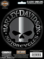 Harley Davidson Willie Skull Embossed Chrome Decal Made In The Usa