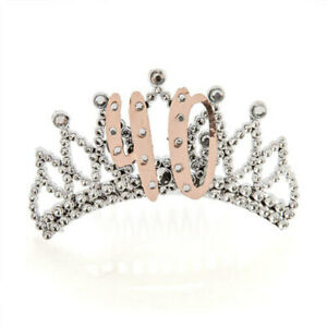 40TH-Rose-Gold-amp-Silver-Tiara-w-Diamantes-Perfect-for-Glamorous-Birthday-Outfit