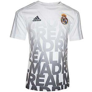 7d8bd96ba04e1 La imagen se está cargando Adidas-Real-Madrid-pre-partido-Blanco-Gris-Ninos-