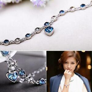 Women-Ocean-Heart-Austrian-Crystal-Chain-Jewelry-Bracelet-Bangle-Gifts-V5D7