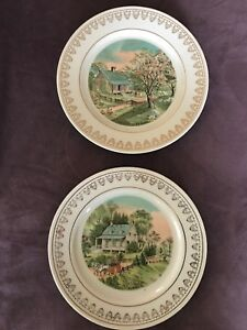VTG-Currier-amp-Ives-Spring-Summer-Season-Decorative-Wall-Plates-Japan-Replacement