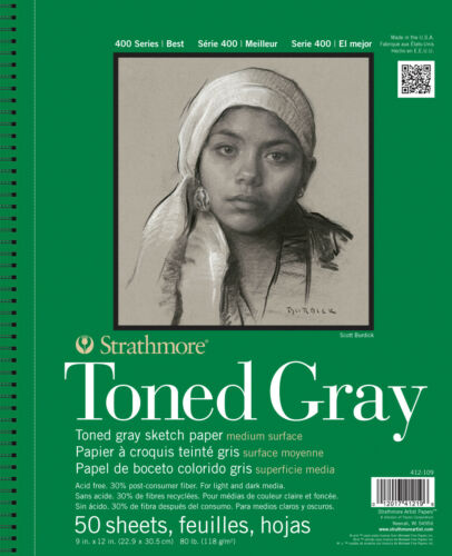 """STRATHMORE 412-109 400 SERIES ST 9/"""" X 12/"""" TONED GRAY WIRE BOUND SKE..."""