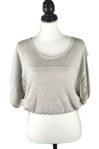 MIKEN ACTIVE Gray Flannel & Lace Crop Top SMALL Dr