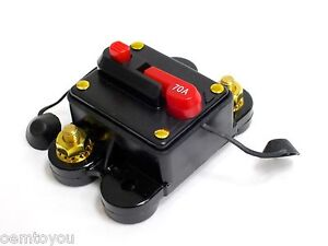 Image Is Loading 70 AMP Circuit Breaker Resetable Amplifier Inline Fuse