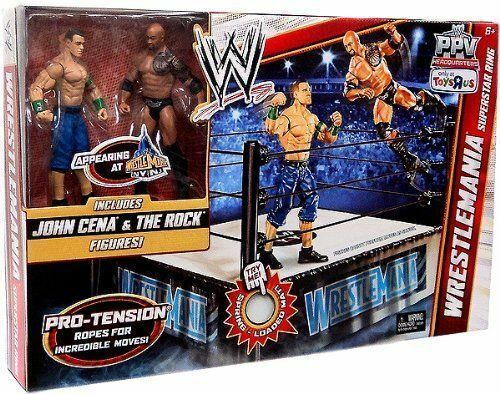 Mattel Wwe Wrestling PPV exclusivo ganó Superstar Anillo La Roca Cena