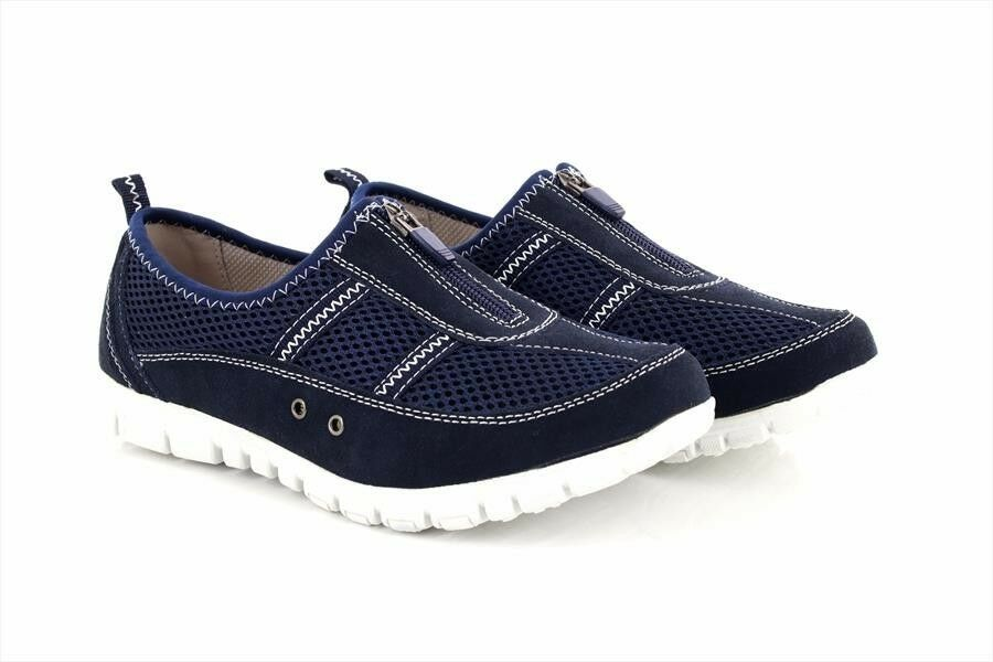 Boulevard Leisure X Wide EEE Fitting Trainer Schuhes Navy Blau Suede/Textile Mesh