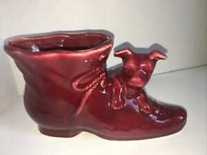 Shawnee Pottery VTG Puppy Dog Shoe Boot Planter~Mid Century Cranberry Red USA