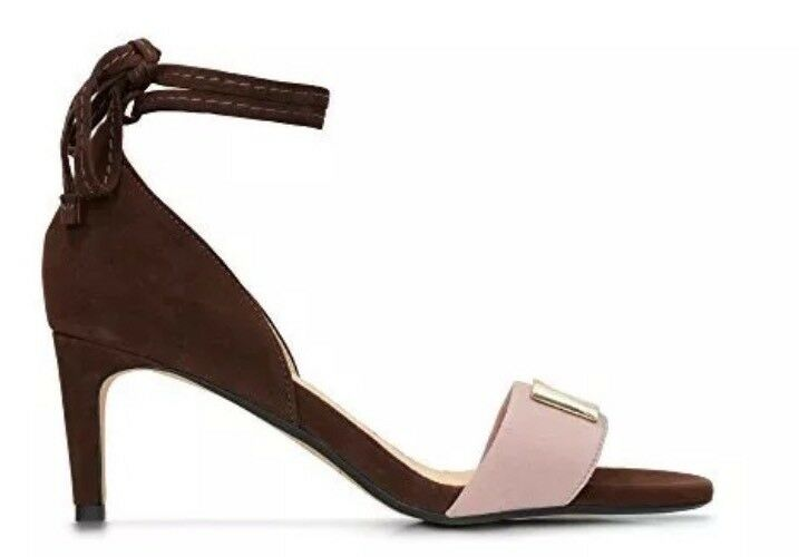 NewClarks UK 6 Amali Onyx Sandals Brown Pink gold Bar Strap Evening Party