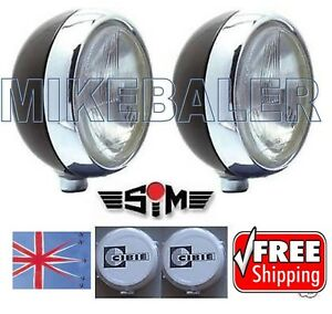 2x-7-034-SIM-DRIVING-SPOT-LAMPS-LIGHTS-WITH-CIBIE-OSCAR-COVERS-AND-BULBS-SPOTLIGHT