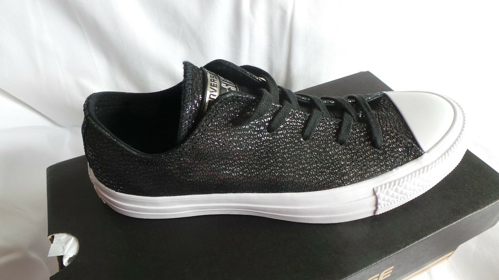 Brand New in box Converse Black Leather CTAS Ox trainers Size 4 EU 36.5 Silver