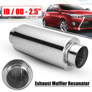 Universal-Exhaust-Muffler-Resonator-Stainless-Steel-2-5-039-039-Inelt-Outlet-Chrome