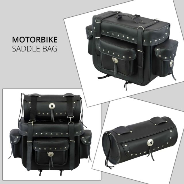 c590f9614871 New Motorbike Motorcycle PU Leather Saddle Bag Pannier Sissy Bar Tool Roll  Box