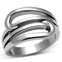 Geometric Spiral Ring Stainless Steel Open Design Sz 5-10 Silver