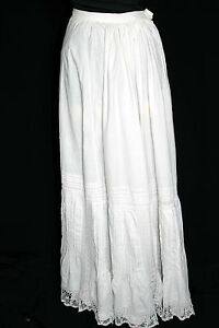 VERY-RARE-VICTORIAN-LONG-COTTON-amp-LACE-FANCY-PETTICOAT-SKIRT-26-INCH-WAIST