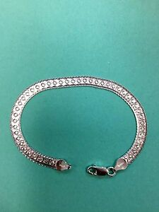 Flexible 8.7 mm Pave Herringbone Sterling Silver Chain #6  .925 Pure Silver