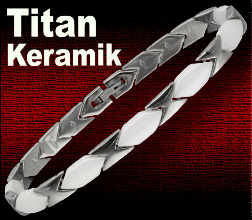 * nuevo Titan schmuckset cerámica-blanco collar cadena Collier Pulsera Brazalete
