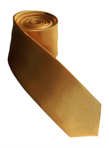 Unisexe satin adulte nouveauté cravate Skinny-plaine cravate jaune canari