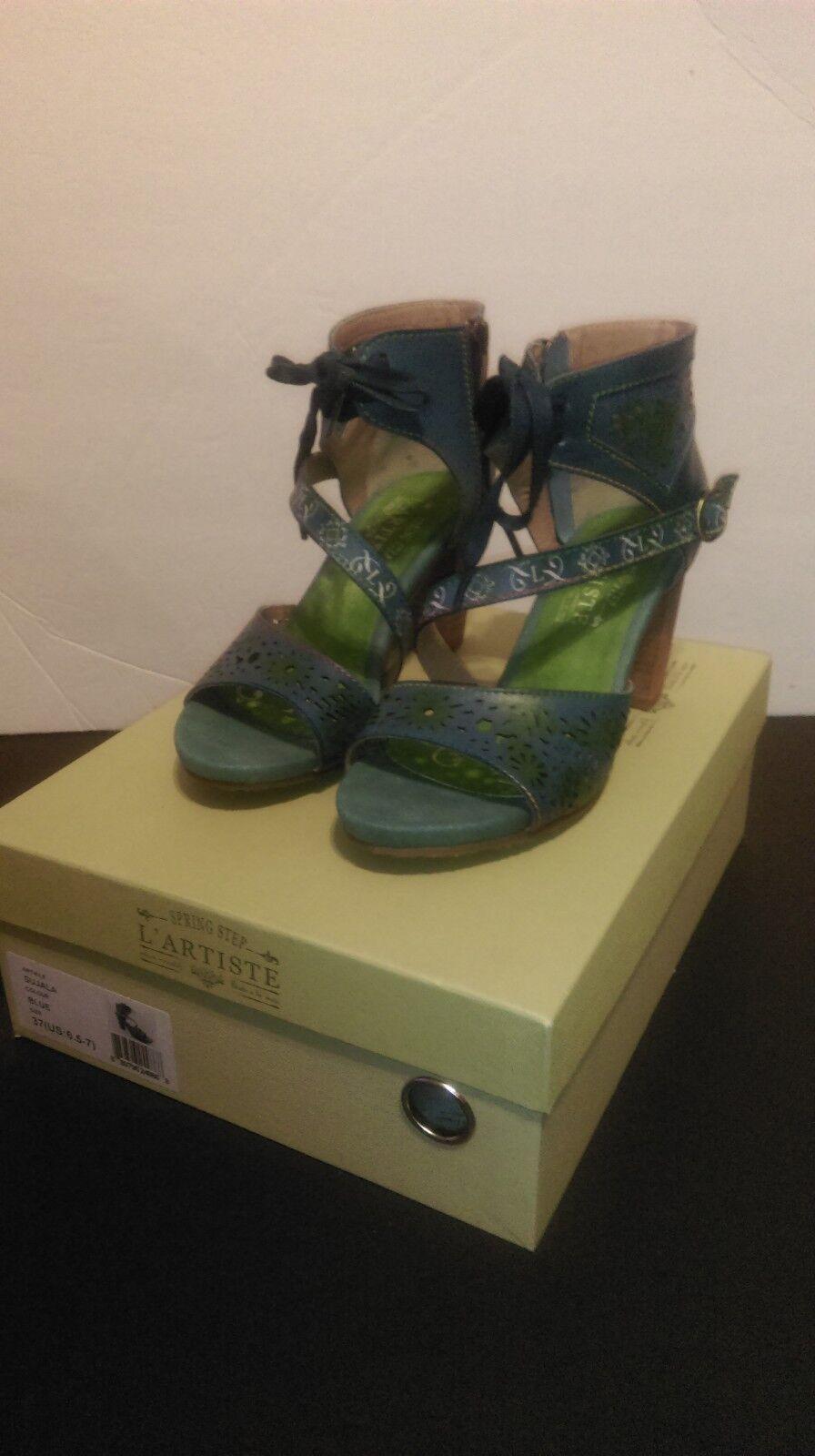 L 'artiste sujala Brazalete De Tobillo Sandalia De Cuero Cuero Cuero verde Azul 7  100% precio garantizado